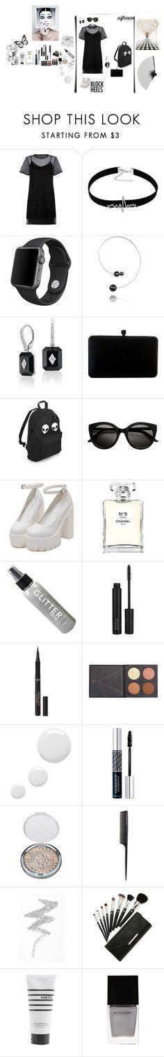 """Black-shirt-dress, with stuff by it :)!"" by manonth on Polyvore featuring mode, Apple, Chanel, L'Oréal Paris, Topshop, Christian Dior, GHD, NYX, Pirette en Élitis"