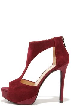 Jessica Simpson Carideo Oxblood Kid Suede T-Strap Heels