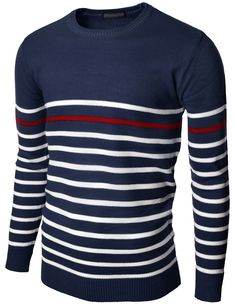 Doublju Men's Crew Neck Color Blocking Stripe Sweater Pullover (KMOSWL056) #doublju