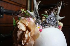 faun antler and flower crown headpiece by thepunkfaeryartworks on Etsy