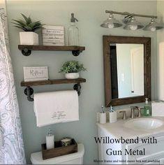 Wooden Wall Shelves, Solid Wood Shelves, Wood Floating Shelves, Wood Shelf, Decorating With Floating Shelves, Wood Bathroom Shelves, Bead Board Bathroom, Decorating Bathroom Shelves, Bathroom Beadboard
