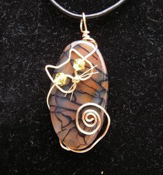 Gold Wire Cat on Dragon Veins Agate Pendant Necklace by jillmh123