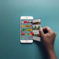 #南非视觉艺术家Anshuman Ghosh制作的脑洞插画,来告诉你iphone的隐藏功能# 冰箱