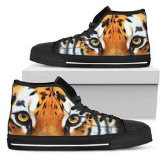 Tiger Portrait Men's High Tops    Custom printed high tops. Amazing colors and print quality. Lightweight canvas construction for maximum comfort. High quality EVA sole for exceptional traction and durability. Made with love just for you. Show Off Your Wild Side Today! #hightops #tigergear #WildAnimalist Mens High Tops, Tigers, Converse Chuck Taylor, Men's Shoes, High Top Sneakers, Just For You, Construction, Printed, Portrait