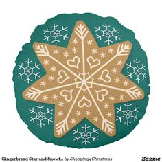 Gingerbread Star and Snowflakes Round Pillow