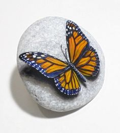 Stone painting monarch butterfly Is Painted on by RockArtAttack