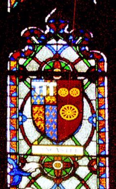 Katherine Swynford's coat of arms in Ripon Cathedral. She was given the 3 Catherine Wheels as a present by John of Gaunt so that she was able to bear her own coat of arms. It was joined with John of Gaunt's upon their marriage on the 13th January 1396 when she became the Duchess of Lancaster & the premier lady in the realm.