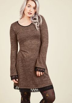Ahem, a Hem Long Sleeve Dress in Mocha - Brown, Solid, Casual, Shift, Long Sleeve, Fall, Winter, Knit, Better, Exclusives, Private Label, Under 100 Gifts, Short