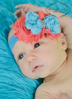 Coral and Turquoise Shabby Flower Headband  by DaintyDarlingShop, $8.50