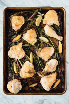 Roasted Lemon-Rosemary Chicken and Winter Green Stems