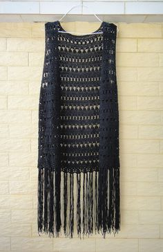 Black Long Fringed Crochet Vest Festival Top