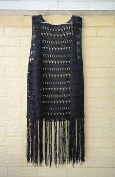 Black Long Fringed Crochet Vest Festival Top