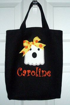 adorable halloween bag with ghost applique and monogram