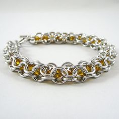 Sunflower Yellow Swarovski Chainmail Bracelet