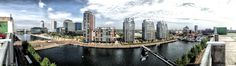 Manchester Business & Media area... Just like US #Manhattan, but much smaller -  #Salford #Quays, the view from the #Lowry car park roof
