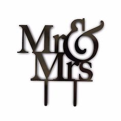 Mr and Mrs Black Acrylic Cake Topper Laser Cut Bride and Groom Wedding Cake Decoration