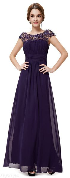 Cap Sleeves Lace Neckline Evening Dress