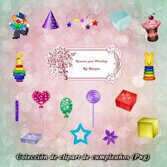 Recursos Photoshop Llanpac: Colección de clipart de cumpleaños para diseño (Pn...