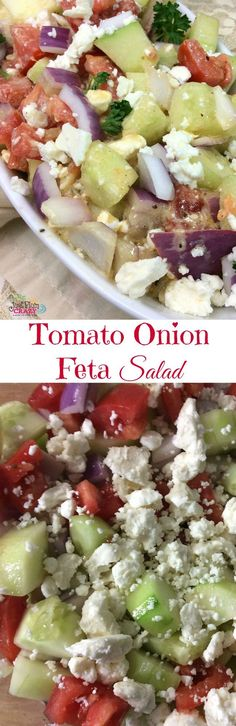 The Tomato Onion Feta Salad Recipe is perfect for summer and BBQ season which is quickly approaching. Quick and easy picnic recipe. Healthy Sides, Healthy Snacks, Healthy Recipes, Easter Side Dishes, Feta Salad, Picnic Foods, Easter Dinner, Eating Raw, Vegetable Side Dishes