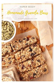 You're going to love these protein-packed homemade granola bars! Sweet, salty, and filled with the best superfoods and proteins, this chewy granola bar recipe is the only one you'll ever need #mydarlingvegan #superfoods #granolabars #proteinbars #proteingranolabars #veganbars Healthy Vegan Snacks, Delicious Vegan Recipes, Healthy Dessert Recipes, Vegan Desserts, Whole Food Recipes, Vegan Sweets, Chewy Granola Bars, Homemade Granola Bars, High Protein Muffins