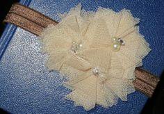Tulle Vintage Pearl Rhinestone Headband- Beige sparkleinpink.com Custom Headbands, Rhinestone Headband, Vintage Pearls, Belly Button Rings, Little Girls, Pink, Tulle, Girly, Brooch
