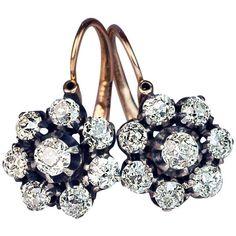 Antique Diamond Earrings-Russian 1899