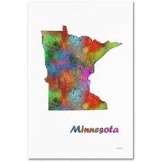 Trademark Fine Art Minnesota State Map-1 inch Canvas Art by Marlene Watson, Size: 16 x 24, Multicolor