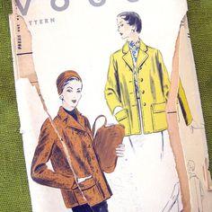 1950s Vintage Vogue Sewing Pattern Box Jacket or by SelvedgeShop