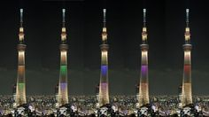 2020年の五輪招致めざし、5色に点灯された東京スカイツリー