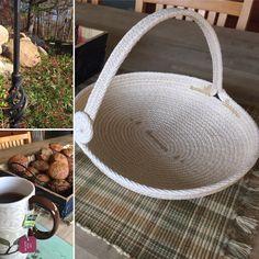 Designed and sewn by Andrea Spadola Rope Basket, Basket Bag, Basket Weaving, Rope Crafts, Diy And Crafts, Harvest Basket, Storage Tubs, Pine Needle Baskets, Fabric Bowls
