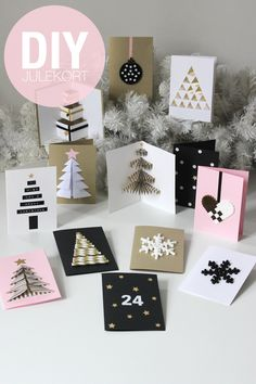 DIY Christmas Cards (folded origami-like tree, bottom left corner) Diy Christmas Cards, Handmade Christmas, Christmas Holidays, Christmas Decorations, Christmas Greetings, Christmas Ideas, Diy Cards, Homemade Cards, Holiday Crafts