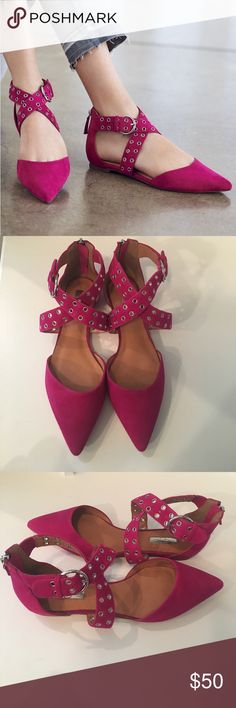 NWOT Halogen Flats Halogen genuine suede pointy toe flats. Gorgeous pink color (first pic represents true color). Side buckles & zipper back. Super stylish. Never been worn! Halogen Shoes Flats & Loafers