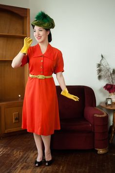 Vintage 1940s Dress  Vibrant Orange Red Rayon 40s Day by FabGabs