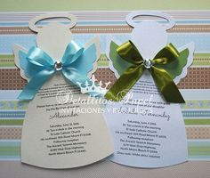 Beautiful Christening invitations!! Each invitation is delivered already printed with the details of your event, includes satin bow in color to choose and crystal gem. The base can be in white or cream, include clear wrap as the example image # 3. Base colors can be: White or Beige