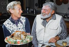 Ernest Hemingway with Wife Mary Welsh.  Looks like they're getting ready for Thanksgiving.