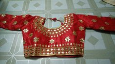 Blouse stuff: Golden Gota Patti work on Dhupian fabric, max one can alter according to size. Blouse Styles, Blouse Designs, Indian Blouse, Embroidery Designs, Floral Tops, Blouses, Crop Tops, Fabric, Women