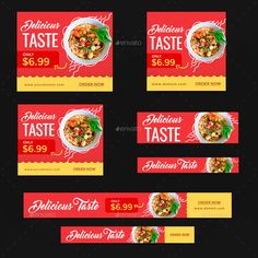 Buy Food Web Banner Set by Hyov on GraphicRiver. Promote your Products and services with this great looking Banner Set. Make Your Own Banner, How To Make Banners, Banner Design Inspiration, Web Banner Design, Web Banners, Food Banner, Event Banner, Food Design, Web Design
