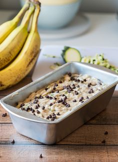 Pour your zucchini bread batter into a prepared loaf pan and bake until a toothpick inserted in the center comes out clean. Apple Pie Cake, Chocolate Chip Zucchini Bread, Loaf Pan, Bread Rolls, Baking Soda, Delicious Desserts, Cake Recipes, Bakery, Chips