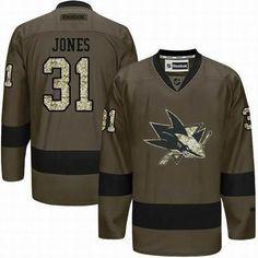 San Jose Sharks #31 Martin Jones Green Salute to Service Jersey