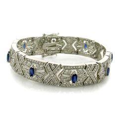 Evangeline's Celebrity Inspired Sapphire Blue & Imitation Diamond Bracelet