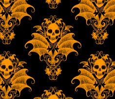 Skull and Wings Damask fabric by thecalvarium on Spoonflower - custom fabric