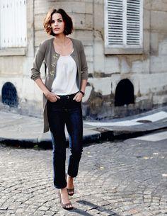 long cardi, skinny jeans