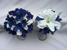 Leigh's Silk Bridal Bouquet with Blue by ArtisticFloralDesign