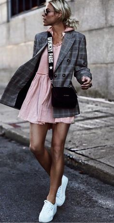 trendy outfit / plaid blazer + pink dress + bag + sneakers