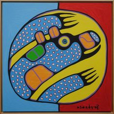 Bear in Blue Dots By Norval Morrisseau Acrylic Painting #art #artphotography #photography #artdeco