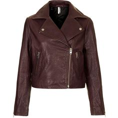 TOPSHOP Boxy Leather Biker Jacket (445 LTL) ❤ liked on Polyvore