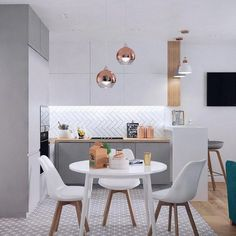 A very modern nordic kitchen in white and gray colors. White upper cabinets, and. Kitchen Room Design, Modern Kitchen Design, Dining Room Design, Home Decor Kitchen, Interior Design Kitchen, Home Kitchens, Small Apartment Interior, Apartment Kitchen, Nordic Kitchen