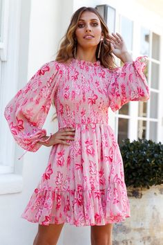Bright Pink Long Sleeve Fit-and-Flare Mini Dress. Pink Floral High Neck Long Sleeve Summer Mini Dress. How to style a hot pink floral mini dress     #summerfashion  #summerstyle #summervibes  #fashionstyle Summer Dresses For Women, Trendy Dresses, Pink Mini Dresses, Long Sleeve Mini Dress, Summer Vibes, Fit And Flare, Bright Pink, Hot Pink, Vestidos