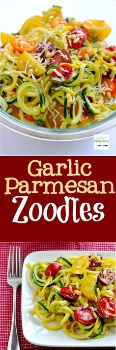 Garlic parmesan zoodles - so light and delicious at 2 SmartPoints! It'll make you WANT to eat your veggies!   APincOfHealthy.com