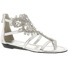 Grazie Plume ($59) ❤ liked on Polyvore featuring shoes, sandals, silver, zipper shoes, zip shoes, jeweled shoes, small heel shoes and grazie footwear